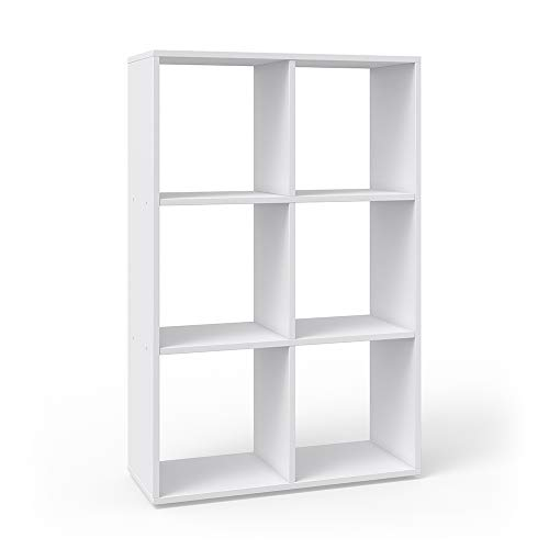 Vicco Raumteiler Karree 6 Fächer Bücherregal Standregal Aktenregal Hochregal Aufbewahrung Regal (Weiß)