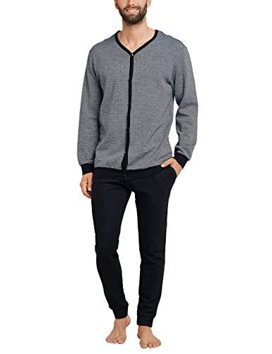 Schiesser Herren Sleep + Lounge Pyjama lang Zweiteiliger Schlafanzug, Grau (Anthrazit 203), Medium (Herstellergröße: 050)