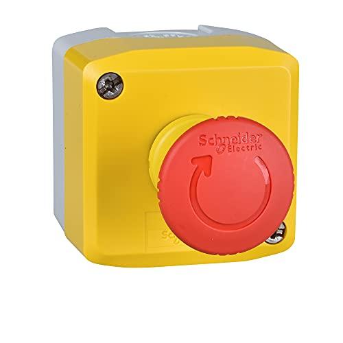 Schneider Electric XALK178E Harmony boite avec 1 arrêt d'urgence, 40 mm diamètre du bouton, tourner pour déverrouiller, 1F+1O, jaune/rouge