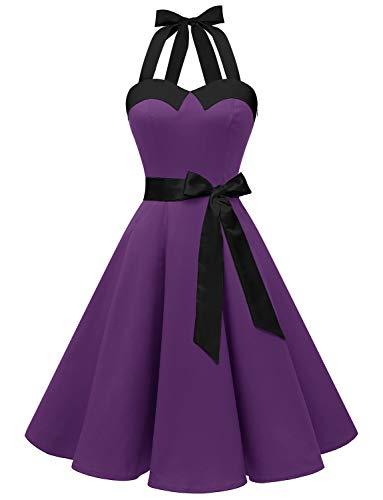 Dressystar, abito vintage a pois, stile rockabilly, anni '50, anni '60, con allacciatura al collo D viola con nero. L