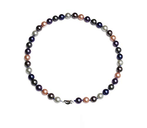 Schmuckwilli Südsee Tahiti Damen Muschelkernperlen Perlenkette aus echter Muschel multifarbig 45cm 10mm mk10mm169-45