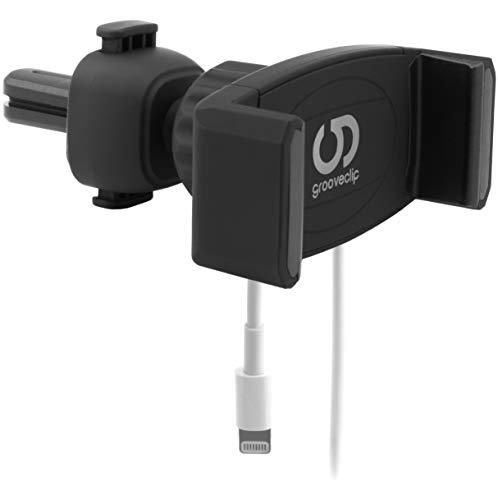 grooveclip AIR Slider 2 - Universal Handyhalterung für Lüftungs Gitter im Auto - mit Smartphone Handy Ladekabel-Halterung - für iPhone Samsung LG Sony Huawei Xiaomi ASUS Oppo OnePlus HTC