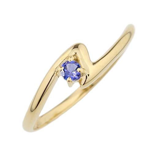 (リュイール) 指輪 レディース 人気 タンザナイト リング 10金 人気 2月 リング 一粒 カラーストーン 誕生石 シンプル k10イエローゴールド サイズ 7号