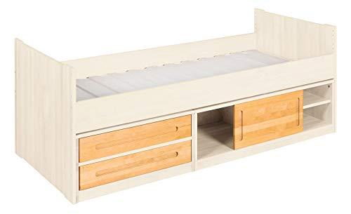 BioKinder Lina Stapelbed Functioneel bed Ladekast met schuifdeur, 2 lades en lattenbodem van massief elzenhout en grenenhout 90 x 200 cm, voor elzenhout