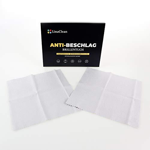LinaClean 2er Pack Anti Beschlag Brillentücher, kein Maskennebel mehr, für alle Gläser geeignet. Abwischen und Nebelfrei