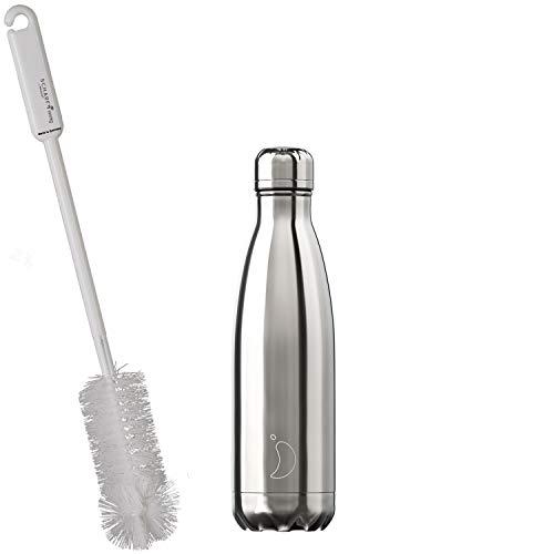CHILLYs Trinkflasche & Isolierflasche Chrome Silver Bottle - Edelstahl Thermos Wasserflasche - Flasche hält 24 Std. kalt & 12 Std. heiß + SCHARFsinnig Flaschenbürste