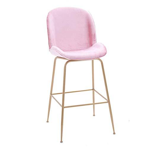Nordic Bar Stool met 45 High Back 74cm Pub hoogte-metalen gouden legs-velvet Upholstered Seat Chair Barkruk Breakfast Chairs roze