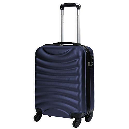 Lightweight 4 Wheel Hard Shell Luggage Suitcase Ryanair Cabin Travel Bag - ABS822 (Navy)