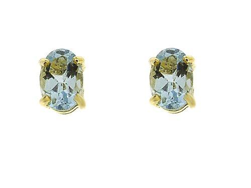 Boucles d'oreille - 135E0016 - 17/9AM - Pendientes de mujer de oro amarillo (9k) con aguamarinas ( 5 mm)