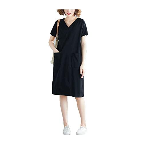 Vestidos de Gran TamañO para Mujeres, Vestidos de Verano para NiñAs un Poco Gordas Usan Vestidos Sueltos de Manga Corta de Color SóLido de Moda Casual Camisetas Faldas de Longitud Media Casual