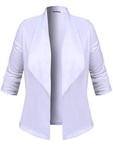 Abollria Blazer Classico Donna con Manica a 3/4 Cardigan Giacca Elegante Giacche Casual per Ufficio, Aperto Davanti, Chiusura con Bottoni, Bianco Classico, L