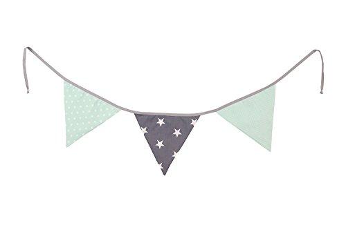 Guirnalda de banderines de ULLENBOOM ® con menta gris (guirnalda de tela: 1,25 m; 3 banderines; decoración para la habitación de los niños; fiestas de bienvenida para bebés)