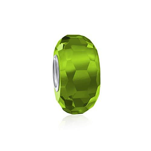 Solide Lime Grün Facettiert Murano Glas 925 Sterling Silber Spacer Perle Passt Europäische Charm Armband Für Frauen Für Teen