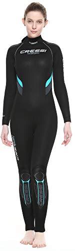 Cressi Castoro Lady Monopiece Wetsuit Traje Monopieza de Buceo Neopreno 5mm High Stretch para, Mujer, Negro/Aguamarina, XS/1