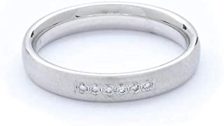 Breuning 18K White Gold Matte & Shiny Finish 0.06ct Round cut Diamond Wedding Ring [BR5629]