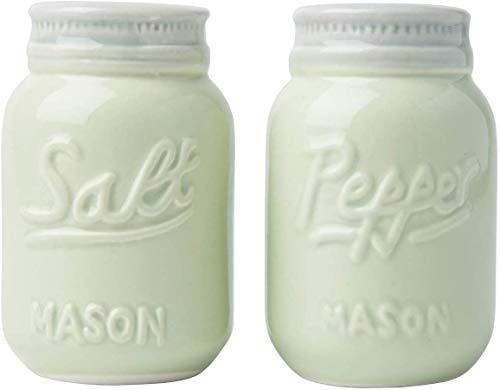 Comfify Vintage Mason Jar Salz & Pfeffer Streuer Bezauberndes dekoratives Mason Jar Dekor für Vintage-, Rustikal- und Shabby Chic-Liebhaber - Robustes Keramik in Grün - 3,5 oz. Kapazität