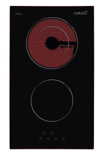 Cata | Placa Vitrocerámica | Modelo TD 302 | 2 Zonas de Cocción High Light | 9 Niveles de Potencia Regulables | 30 cm de Ancho | Control Táctil | Color Negro