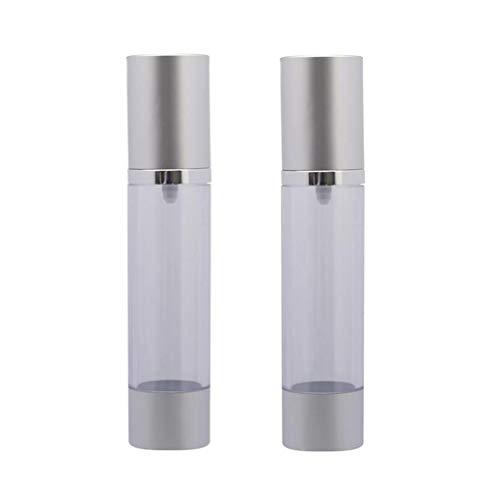 2PCS 50ML 1.7OZ Vide Bouteille vide vide en plastique argenté rechargeable avec couvercle et lotion pour tête de pompe hydratant pour pot à lait contenant pour flacon
