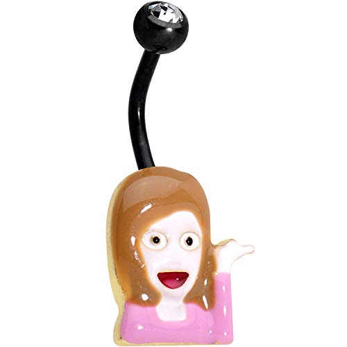Officially Licensed Sassy Girl emoji Black Anodized Steel Clear Accent Belly Ring