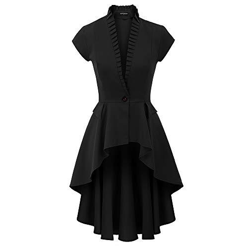 SCARLET DARKNESS Damen Mantel Gothic Steampunk Kurzarm Stehkragen eine Taste Design Jacke Top High-Low L Schwarz SL93-1