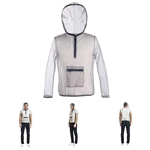 Yililay mygg Suit Lätt Summer Mesh Net Bug Kläder med huva för fiske Camping rökgrå L