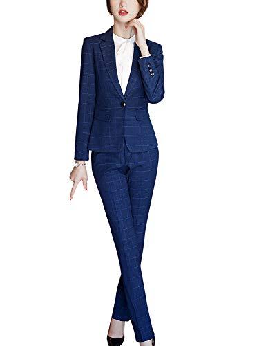 Vrouwen Formele Twee Stuk Plaid Blazer Suits Een Knop Werk Suits Vrouwen Zakelijke Sets Blazer Jack, Pant/Rok