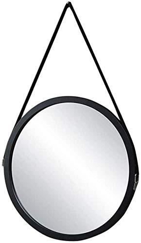 NYDZDM Spiegel houten frame muur ronde spiegel met nylon riem om op te hangen make-up spiegel badkamerspiegel drijvend glas voor badkamer woonkamer slaapkamer wanddecoratie