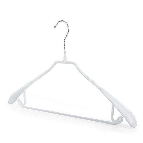 Hangerworld 10 Perchas 43cm Metal con Revestimiento Antideslizante Blanco Barra Pantalón Traje