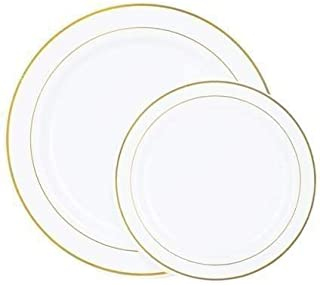 Disposable Plates 60 PACK Heavyweight Plastic White with Gold Rim: 30 Dinner Plates and 30 Salad Plates, Weddings, Banquets, Parties, Anniversaries, Birthdays, Holidays, Picnics BPA Free (GOLD RIM)