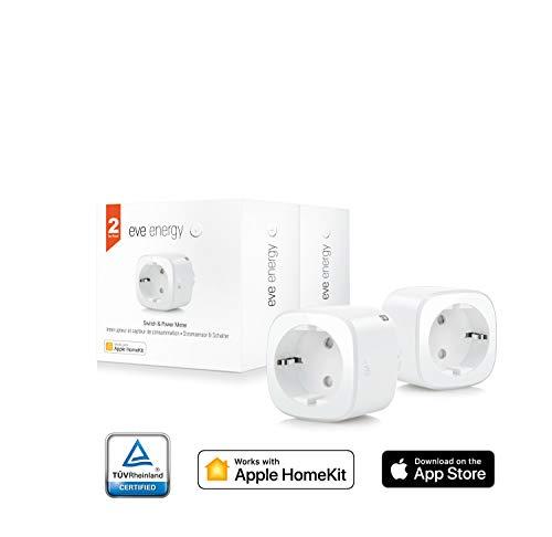 Eve Energy 2er-Set - Smarte Steckdose, TÜV zertifiziert, dt. Markenqualität, Verbrauchsmessung, integrierte Zeitpläne, schaltet Geräte ein & aus, Sprachsteuerung, keine Bridge nötig (Apple HomeKit)