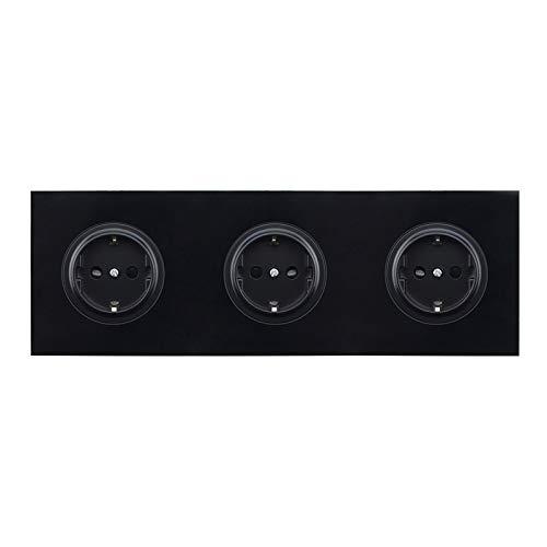 UCWEV Interruptor 16A Socket Cristal Enchufe De Pared del Vidrio Cristalino De La Pared del Panel del Zócalo De Energía (Rated Voltage : 110 250V, Type : Trible Socket)