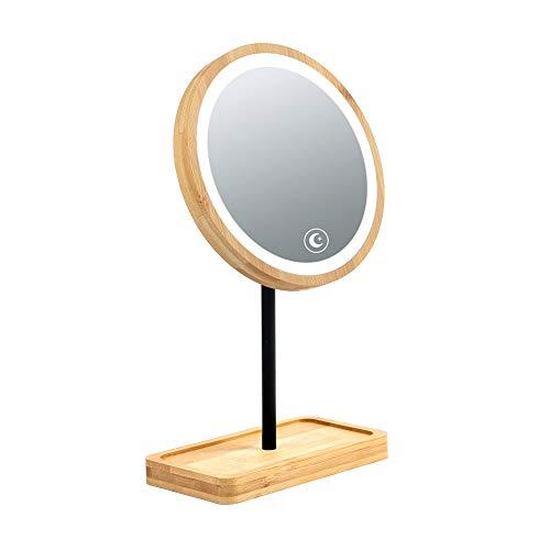 LYHD Kosmetikspiegel Tischspiegel Standspiegel Klein mit Holz-Rahmen,Runder Make-Up-Spiegel mit Ablage für Make Up,für Wohnzimmer und Badezimmer, Natur Drehbarer Badezimmerspiegel