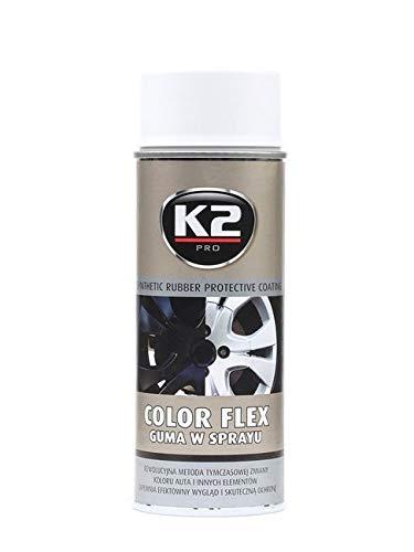 K2 Color flex, Sprühfolie, Sprühgummi, Flüssiggummi, ideal für Metall, Alu, Holz, Glas und Kunststoff, kann wieder entfernt werden, weiß, 400ml