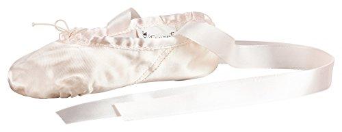 tanzmuster Ballettschuhe aus Satin Sandy mit Satinband, Geteilte Ledersohle - Ballettschuhe für Kinder und Erwachsene, rosa, 29