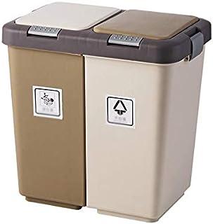 trash can kitchen برميل الغطاء المزدوج القمامة يمكن للصحافة المنزلية الانفصال الجاف والرطب التخزين القمامة سلة ورقة النفاي...