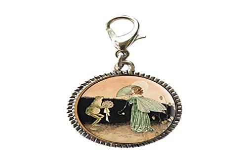 Pulsera de cristal de hada de ángel de rana vintage, colgante con cierre de langosta con cremallera y cierre de mosquetón