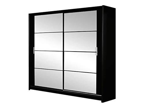 Mirjan24 Kleiderschrank Johnson 160, Schwebetürenschrank, Garderobeschrank mit Spiegel, Schlafzimmerschrank, Elegantes, Schiebetür, Schlafzimmer (Schwarz/Spiegel)