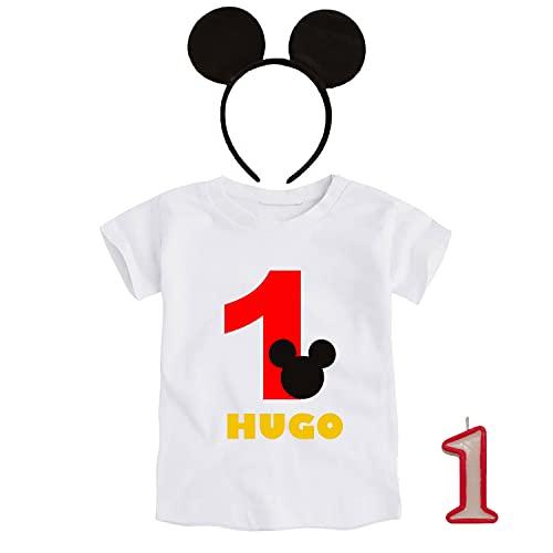 Kembilove Conjunto Cumpleaños Personalizado de 3 piezas para Bebé de 1 año – Con Camiseta, Diadema y Vela – Disfraz para sesiones de fotos de Cumpleaños – Diseño Mickey 12 -18 Meses