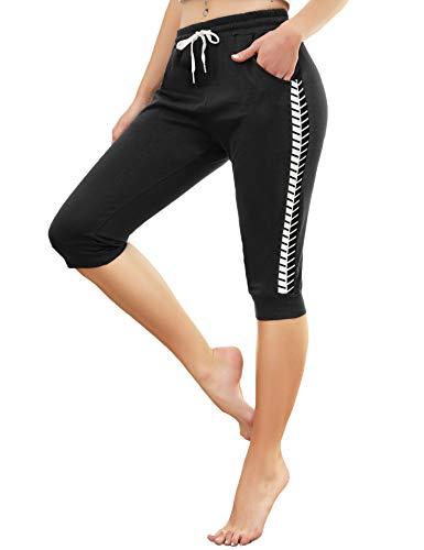 Doaraha 3/4 Pantalones Deporte Piratas para Mujer 100% Algodón Casual Pantalónes Capri Pantalon Deporte con Cordón para Correr,Yoga,Dormido,Aptitud,Danza(Negro)