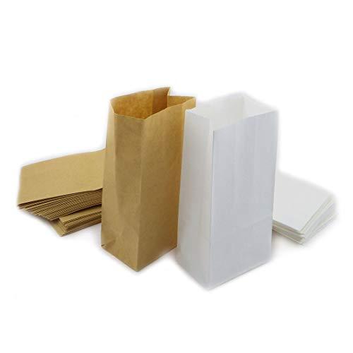 Papiertüten Bodenbeutel Beutel Papier Geschenktüten Papierbeutel Geschenkverpackung Papiertüten DIY (Mix-Weiss+Braun, (50x) 18x9x6cm)