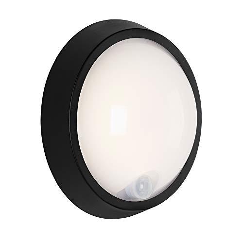 Briloner Leuchten - Lámpara LED de exterior, lámpara de pared para exterior con sensor de movimiento y detector crepuscular, 12 W, 1.150 lúmenes, 4.000 Kelvin, blanca/negra, redonda, Ø 17 cm
