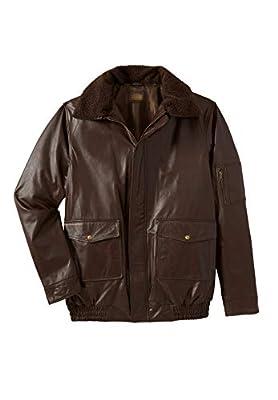 KingSize Men's Big & Tall Leather Flight Bomber Jacket - Big - 8XL, Brown from KingSize