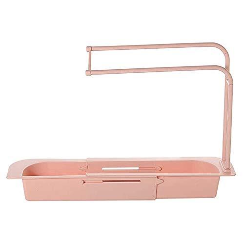 Fransande - Soporte de fregadero telescópico para cesta de vaciado de almacenamiento, extensible, soporte de jabón, esponjador, bandeja de fregadero para cocina en casa (C)