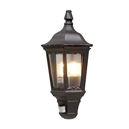 Photo of Konstsmide Outdoor Lights Firenze Flush Outdoor Wall Light with PIR Sensor-Motion Detector / 1 x 100 W E27 Max Wall Lamp / Clear Glass Panels / Aluminium / IP43 / Outside Light Matt Black, 7230-750