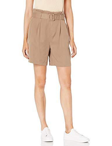 The Drop Rosie Short Largo de Talle Alto Plisado tipo «Paperbag» con Cinturón Mujer