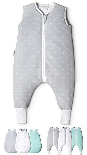 Ehrenkind® Babyschlafsack mit Beinen | Bio-Baumwolle | Ganzjahres Schlafsack Baby Gr. 70 Farbe Grau mit weißen Punkten