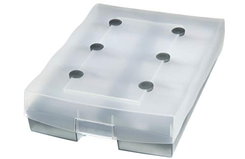 HAN Archivbox CROCO DUO – hochwertige Archivbox für bis zu 2.200 DIN A8 Karten. Inklusive A-Z Register und 8 Stützplatten, transluzent-grau, 9987-693