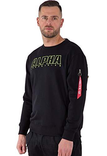 ALPHA INDUSTRIES Herren Alpha Embroidery Sweater Sweatshirt, Negro, L