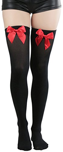 ToBeInStyle Women's Beautiful Satin Bow Opaque Thigh High Stockings - Black With Red Bow