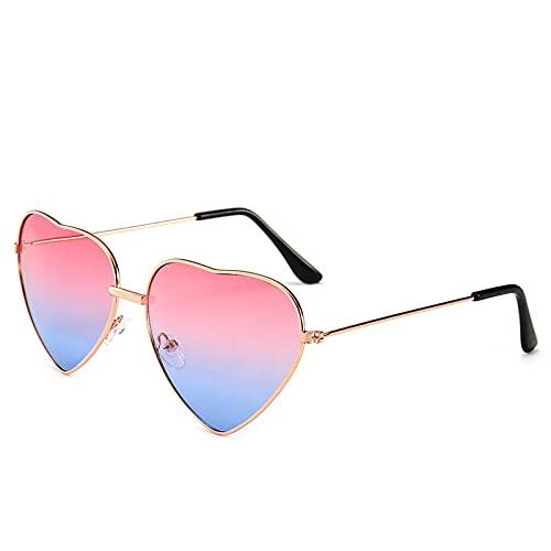 Gafas De Sol Gafas De Sol Retro En Forma De Corazón Gafas De Sol con Gradiente De Caramelo para Mujer Gafas Al Aire Libre Pinkblue